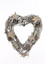 Landon Tyler 23 cm Pinecone Heart Wreath with Star